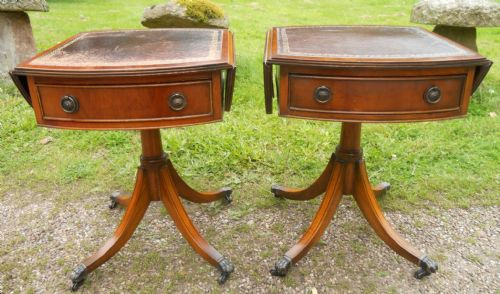 Pair Mahogany Pedestal Dropleaf Coffee Tables